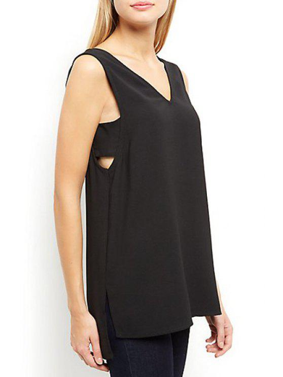 online Side Step Hem Vest - BLACK S