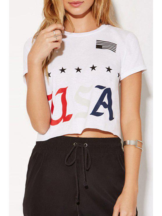 affordable Letter and Star Print White T-Shirt - WHITE XS