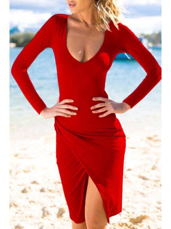 women's Plunging Neck Long Sleeves Bodycon Dress - RED L