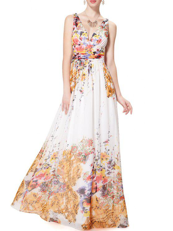 outfits V Neck Colorful Floral Print Sleeveless Dress - WHITE S