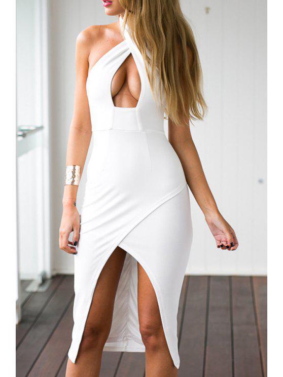 shop White Halterneck Bodycon Dress - WHITE S
