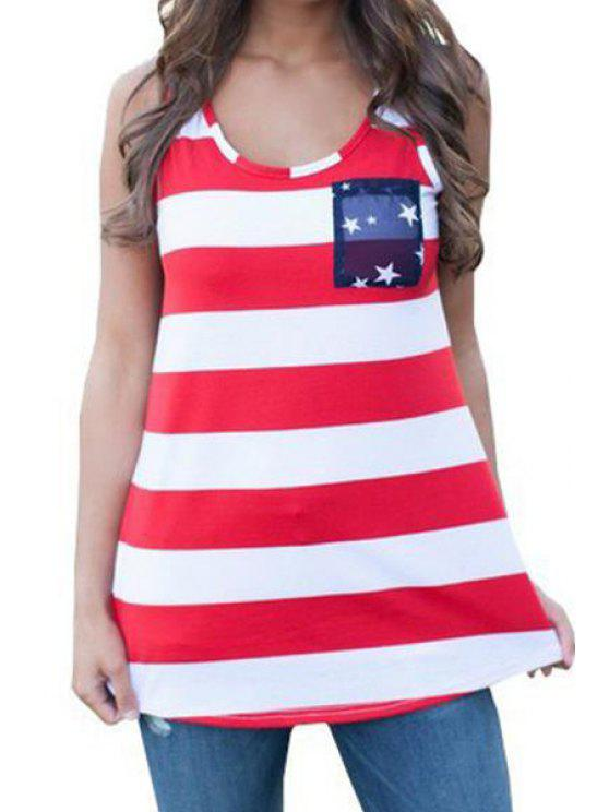 outfit Star Print Striped Spliced Tank Top - RED S