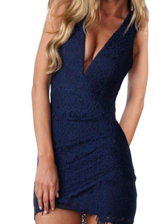 shop Plunging Neck Backless Cross Dress - BLUE S
