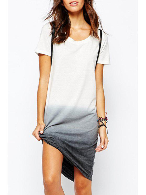 fashion Ombre Color Short Sleeves Dress - WHITE S