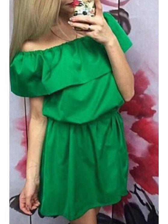 shops Slash Neck Tie-Up Asymmetrical Short Sleeve Dress - GREEN S