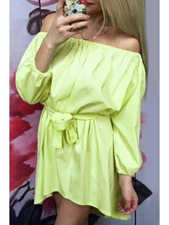 women's Slash Neck Tie-Up Asymmetrical Long Sleeve Dress - YELLOW L