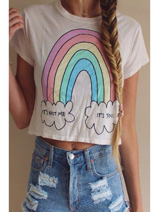 women's Rainbow Print Short Sleeve Crop Top - WHITE S