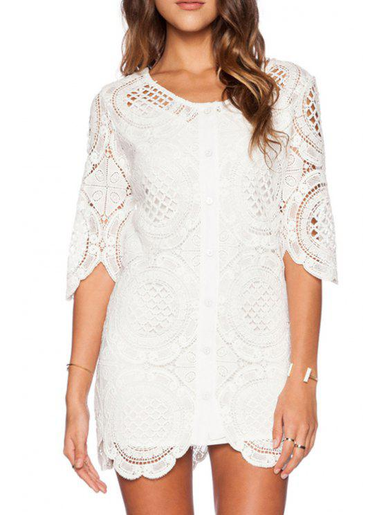 affordable White Hollow Half Sleeve Dress - WHITE ONE SIZE(FIT SIZE XS TO M)