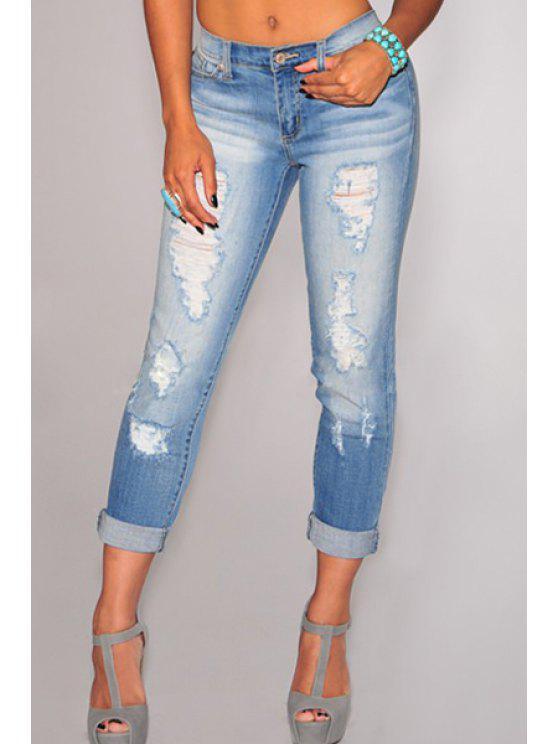 women's Destroy Wash Pocket Pencil Jeans - LIGHT BLUE S