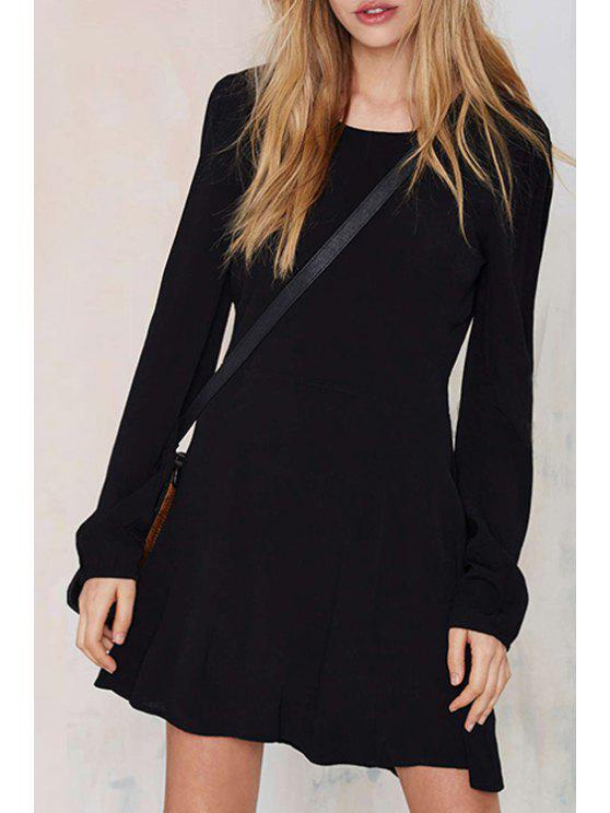 best Black Open Back Long Sleeves Dress - BLACK S