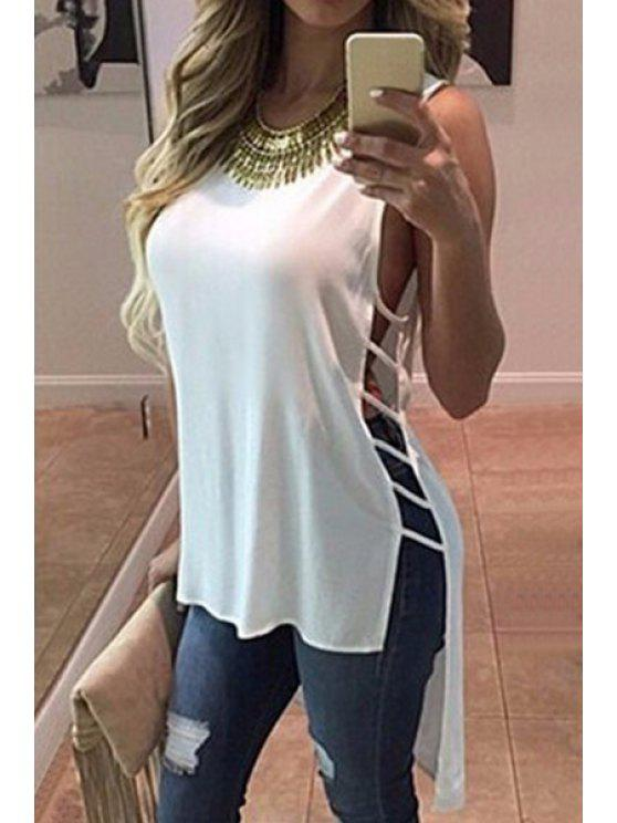new Hollow High Low Sleeveless Blouse - WHITE S
