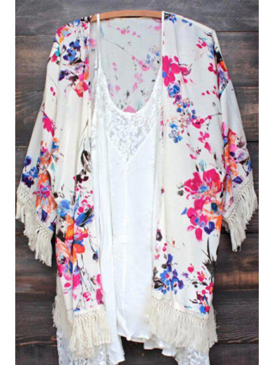 women Colorful Tiny Floral Print 3/4 Sleeve Kimono - VIOLET S