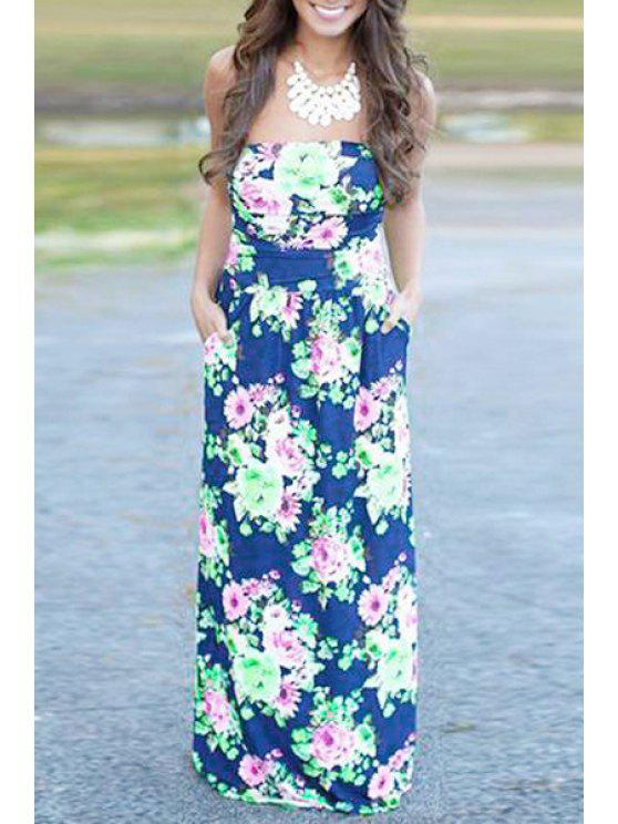outfits Floral Print Maxi Bandeau Dress - GREEN S