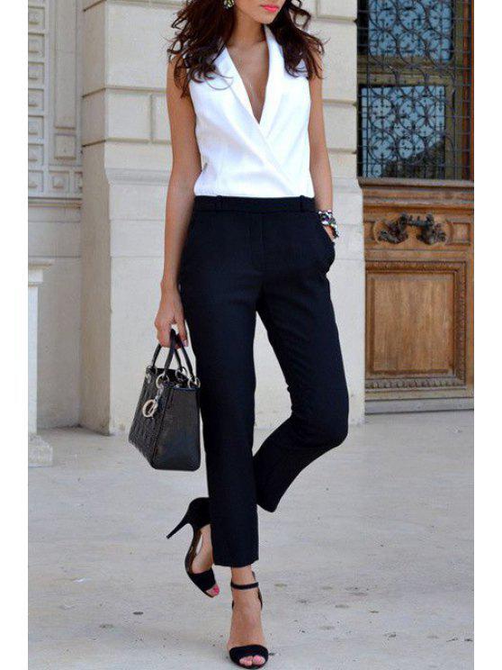 fancy Pocket Design White Black Spliced Jumpsuit - BLACK S