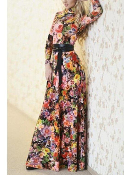 25ac98f1322c0 33% OFF] 2019 Round Neck Colorful Floral Print Long Sleeve Dress In ...