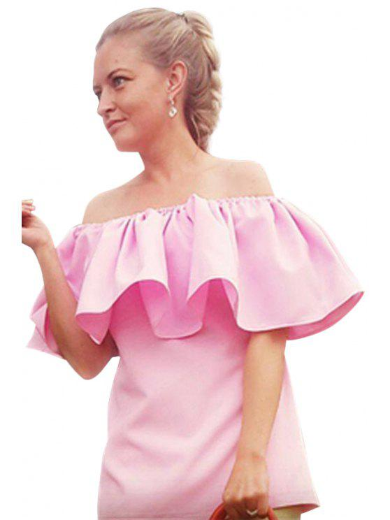 affordable Off-The-Shoulder Ruffles Pink Blouse - PINK S