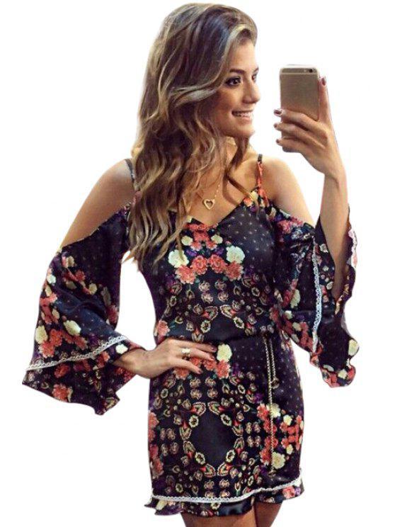 buy Bell Sleeve Floral Print Tunic Dress - BLACK XL