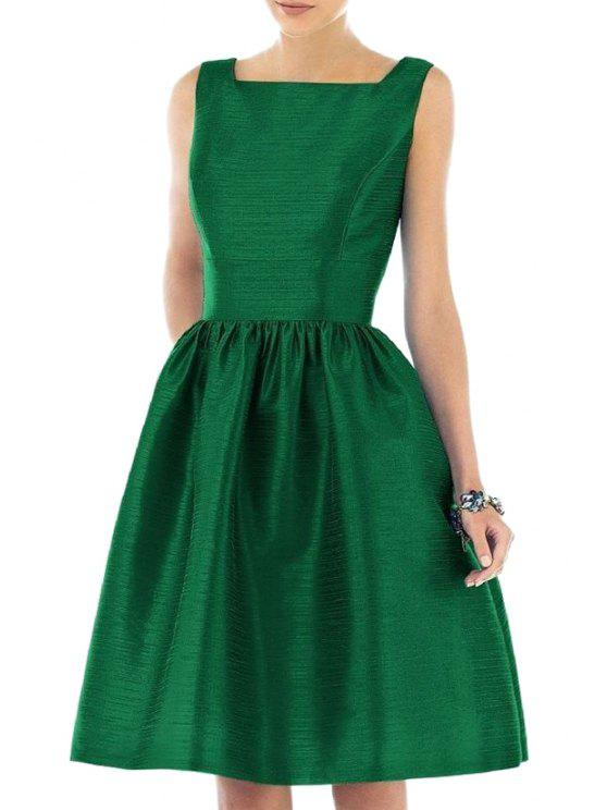 online Square Neck Fit and Flare Green Dress - GREEN XL
