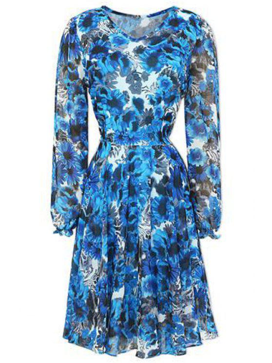 outfits Long Sleeve Floral Chiffon Dress - AZURE S
