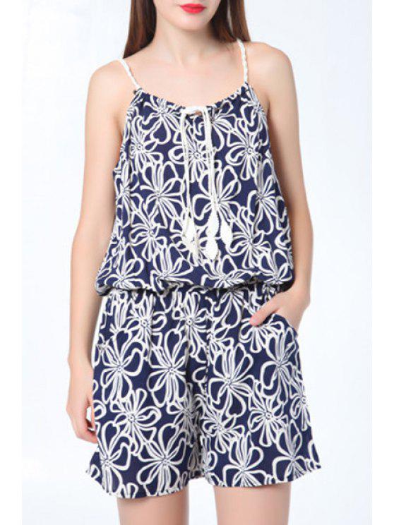 buy Full Flower Print Cami Playsuit - PURPLISH BLUE S