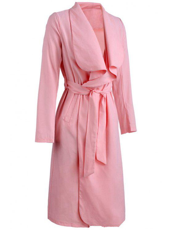 best Turn-Down Collar Solid Color Asymmetrical Trench Coat - PINK M