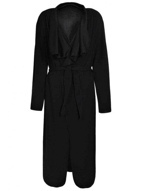 outfits Turn-Down Collar Solid Color Asymmetrical Trench Coat - BLACK L