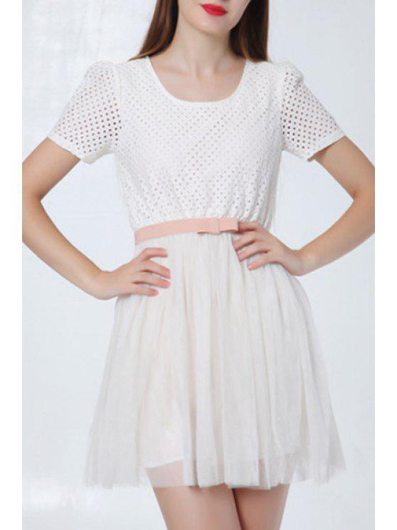 affordable Hollow Out Short Sleeve A Line Dress - WHITE S