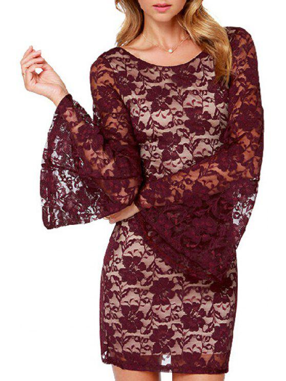 sale Full Lace Long Sleeve Bodycon Dress - WINE RED M