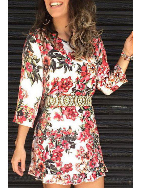 new Three Quarter Sleeve Floral Print Dress - WHITE S