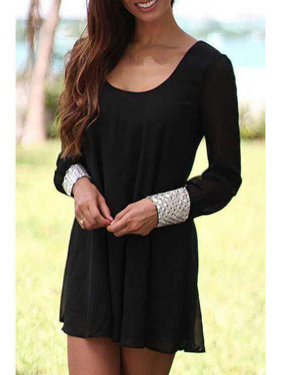 unique Scoop Neck Backless Tie-Up Long Sleeve Dress - BLACK S