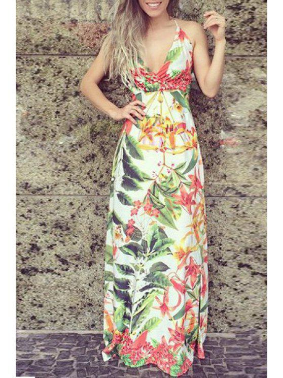 affordable Spaghetti Strap Flower Print Maxi Dress - COLORMIX S