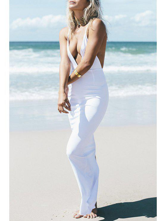 womens Spaghetti Strap Backless Back Slit Dress - WHITE S