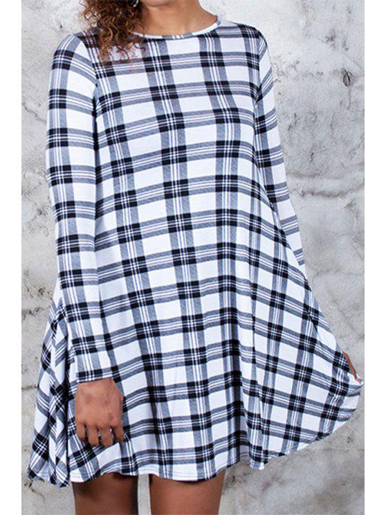 shops Plaid Print Round Neck Long Sleeve Dress - WHITE S