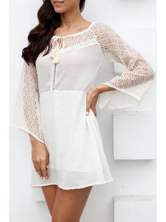 ladies Scoop Neck Tie-Up See-Through Dress - MILK WHITE S