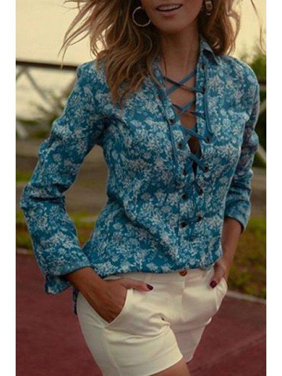 women's Long Sleeve Full Floral Print Shirt - GREEN S