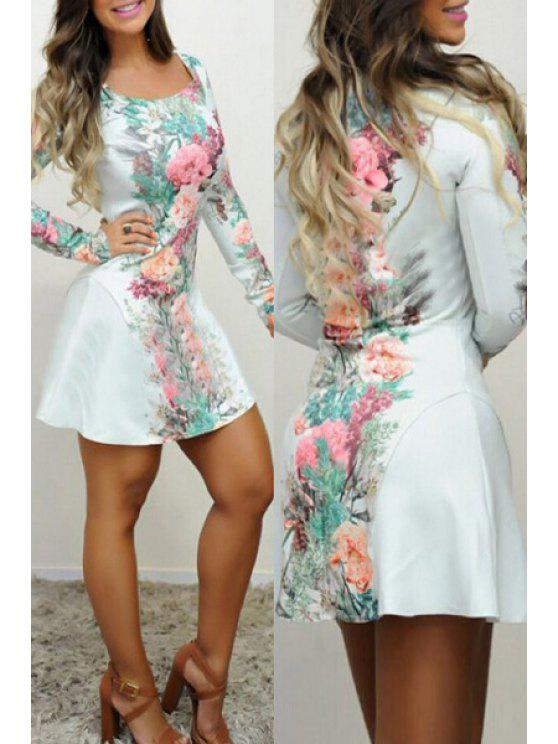 chic Long Sleeve Flower Fit and Flare Dress - WHITE S