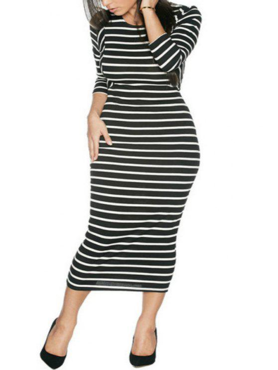hot Stripes Long Sleeve Bodycon Dress - WHITE AND BLACK S