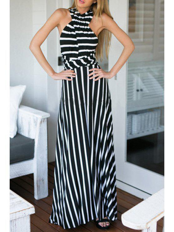 new V Neck Black White Stripe Backless Dress - WHITE AND BLACK ONE SIZE(FIT SIZE XS TO M)