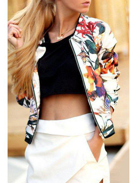latest Zipper Design Floral Jacket - WHITE S
