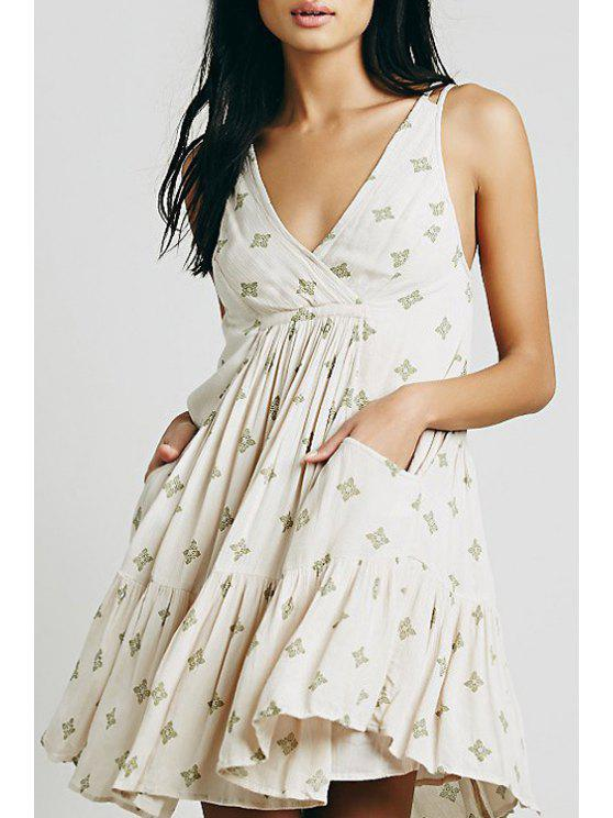 chic Embroidery Plunging Neck Sleeveless Dress - WHITE S