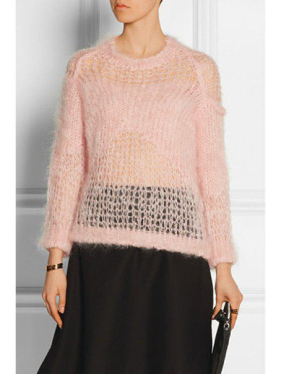 affordable See-Through Mesh Long Sleeve Sweater - PINK ONE SIZE(FIT SIZE XS TO M)