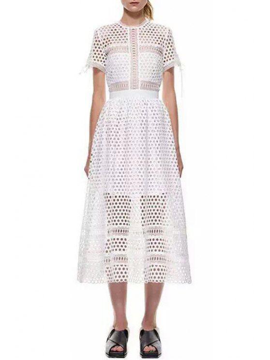 trendy Round Neck Mesh Tie-Up Short Sleeve Dress - WHITE S