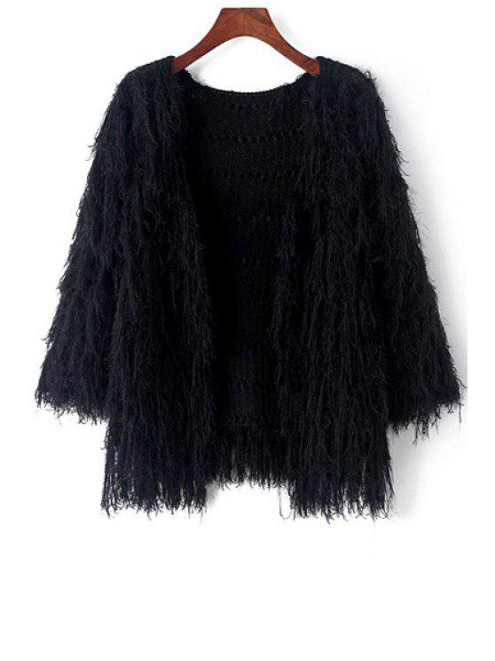 lady Solid Color Hairy Long Sleeve Cardigan - BLACK ONE SIZE(FIT SIZE XS TO M)