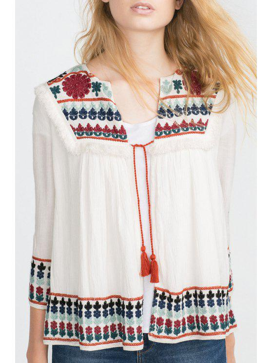 outfit Colorful Floral Embroidery Long Sleeve Blouse - WHITE S