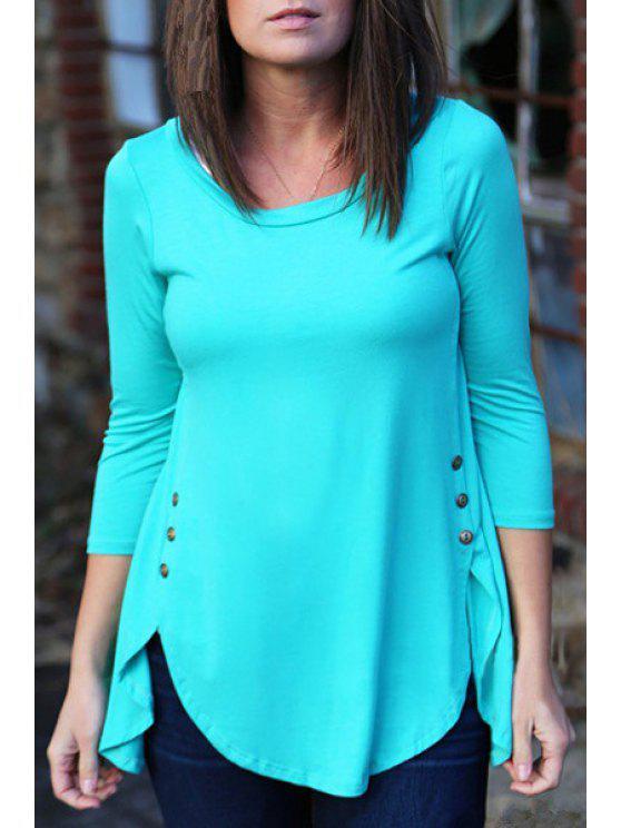 shop Irregular Hem Long Sleeve T-Shirt - BLUE XL