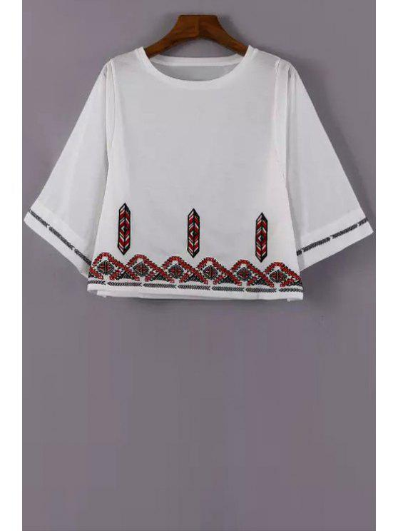 unique Embroidery 3/4 Sleeve T-Shirt - WHITE S