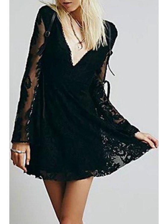 fashion Deep V Neck Embroidered See-Through Dress - BLACK L