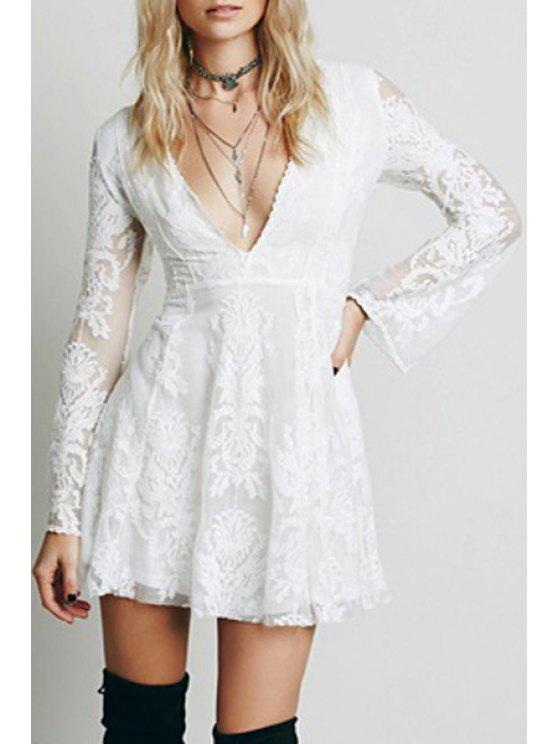 affordable Deep V Neck Embroidered See-Through Dress - WHITE L