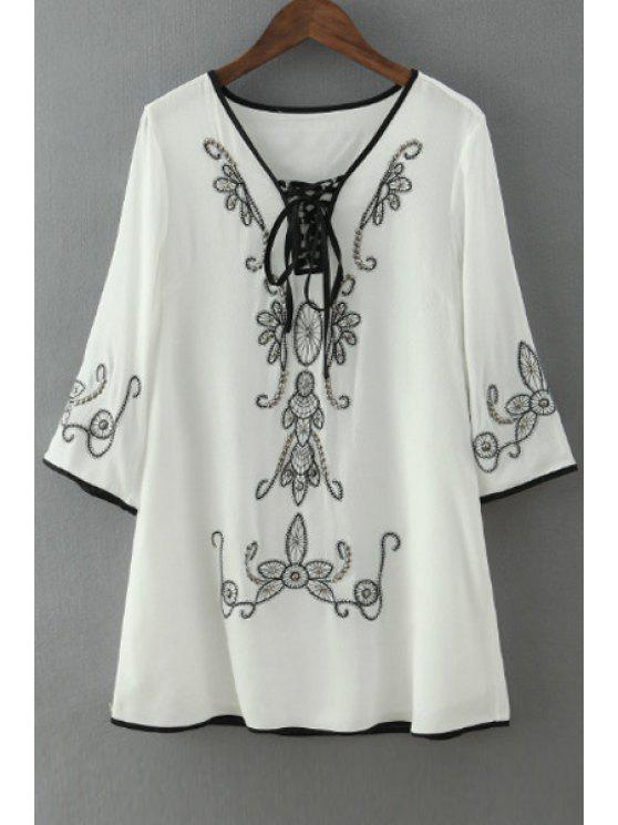 hot Tie-Up Black Floral Embroidery 3/4 Sleeve Dress - WHITE S