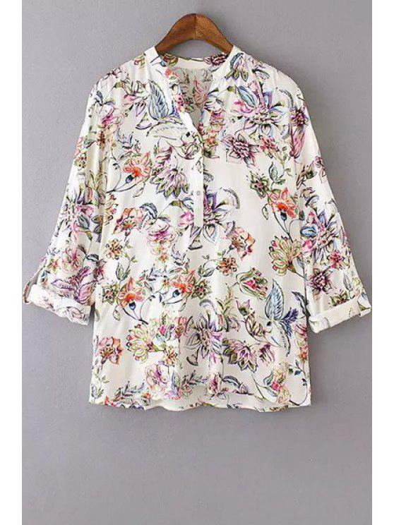 buy V Neck Colorful Floral Print Long Sleeve Shirt - WHITE S